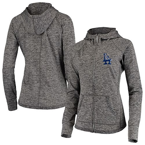 Women's G-III 4Her by Carl Banks Gray Los Angeles Dodgers Defender Raglan Full-Zip Hoodie