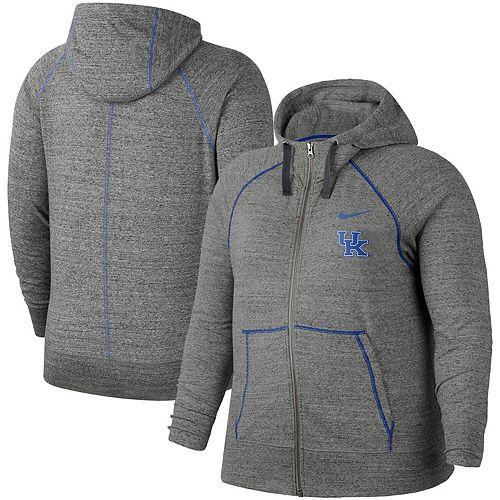 Women's Nike Heathered Gray Kentucky Wildcats Plus Size Gym Vintage Full-Zip Hoodie
