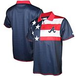 Men's Stitches Navy/Red Atlanta Braves Stars & Stripe Polo
