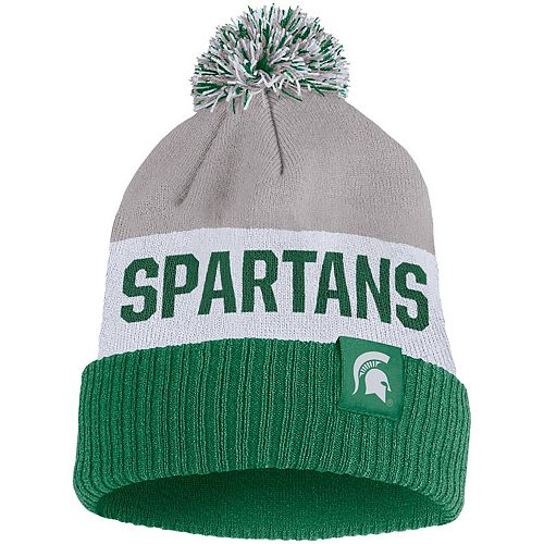 Men's Nike Gray Michigan State Spartans Team Name Cuffed Knit Hat with Pom