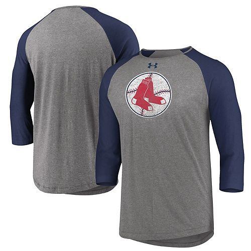 Men's Under Armour Gray/Navy Boston Red Sox Cooperstown Collection Tri-Blend 3/4-Sleeve Raglan Performance T-Shirt