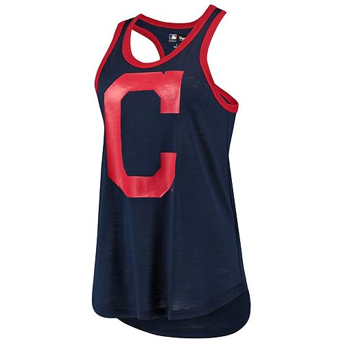 Women's G-III 4Her by Carl Banks Navy Cleveland Indians Team Logo Tater Racerback Tank Top