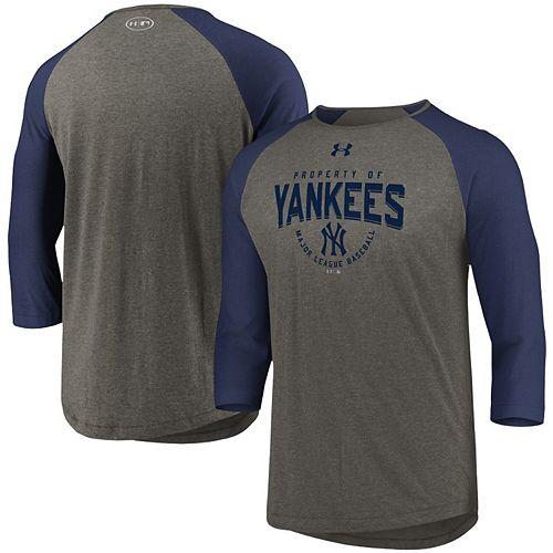Men's Under Armour Gray/Navy New York Yankees Tri-Blend Raglan 3/4-Sleeve Performance T-Shirt