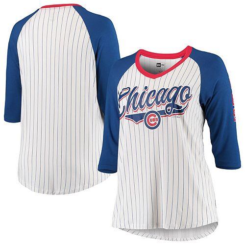 Chicago Cubs New Era Women's Plus Size 3/4 Sleeve Raglan T-Shirt - White/Royal
