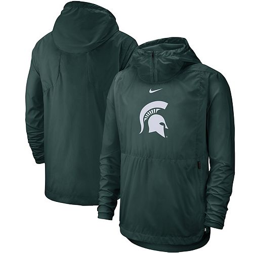Men's Nike Green Michigan State Spartans Player Repel Quarter-Zip Hooded Jacket