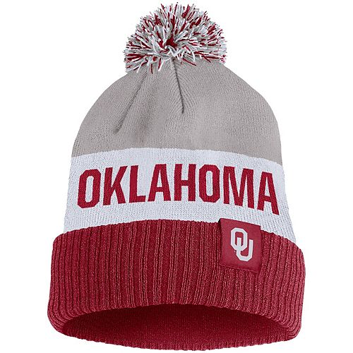 Men's Nike Gray Oklahoma Sooners Team Name Cuffed Knit Hat with Pom