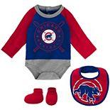 Newborn & Infant Royal/Red Chicago Cubs Dugout Dude Bodysuit, Bib & Booties Set