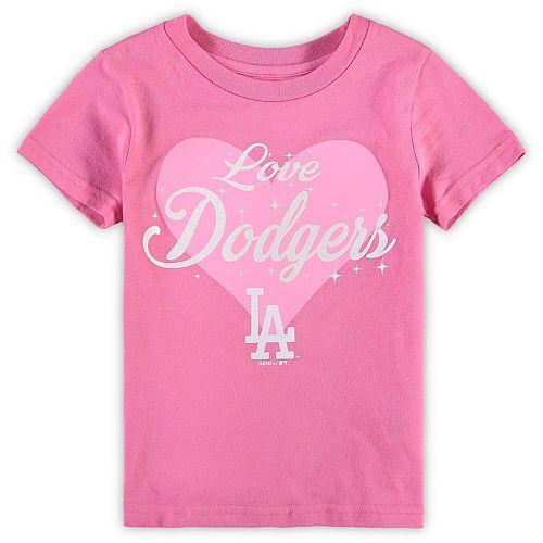 Girls Preschool Pink Los Angeles Dodgers Heart Stars T-Shirt