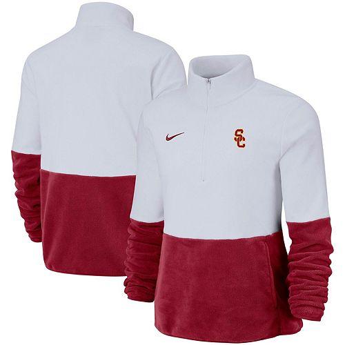 Women's Nike White/Cardinal USC Trojans Colorblock Performance Half-Zip Jacket