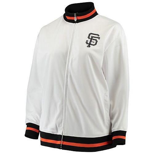 Women's Majestic White San Francisco Giants Plus Size Full Zip Track Jacket