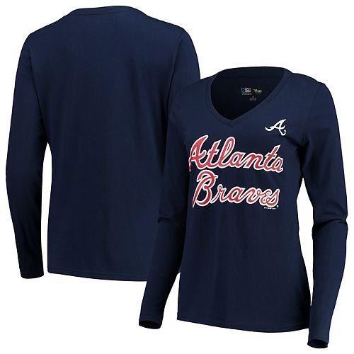 Women's G-III 4Her by Carl Banks Navy Atlanta Braves Post Season Long Sleeve T-Shirt