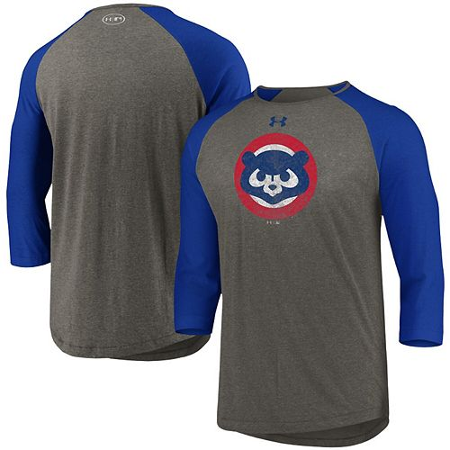 Men's Under Armour Heathered Gray/Royal Chicago Cubs Cooperstown Collection Tri-Blend 3/4-Sleeve Raglan Performance T-Shirt