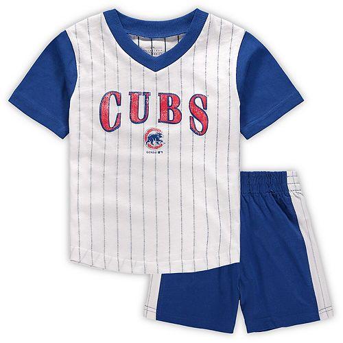 Toddler White/Royal Chicago Cubs Little Hitter V-Neck T-Shirt & Shorts Set