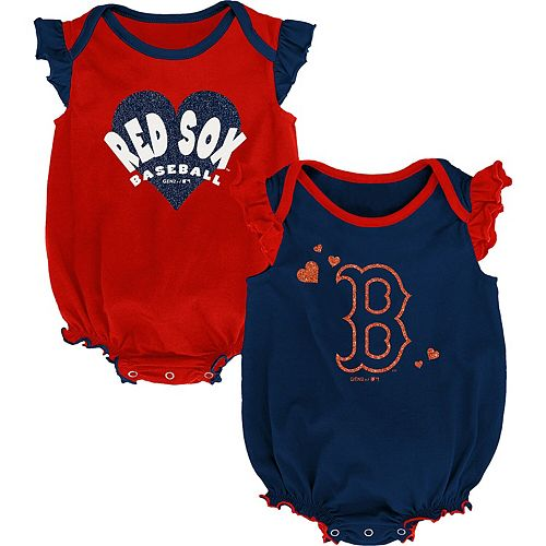 Girls Newborn & Infant Navy/Red Boston Red Sox Double Trouble Two-Pack Bodysuit Set