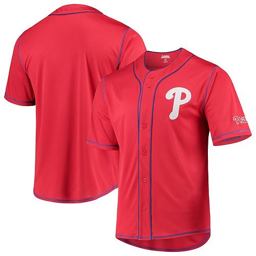 Philadelphia Phillies Stitches Team Color Button-Down Jersey  Red/Royal
