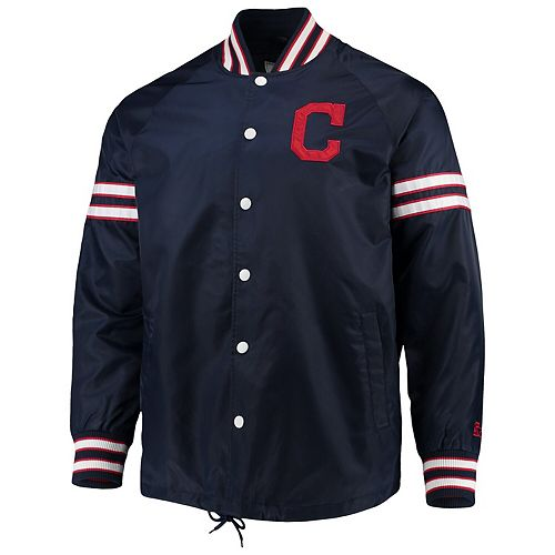 Men's G-III Sports by Carl Banks Navy Cleveland Indians Skipper Coach's Full Snap Jacket