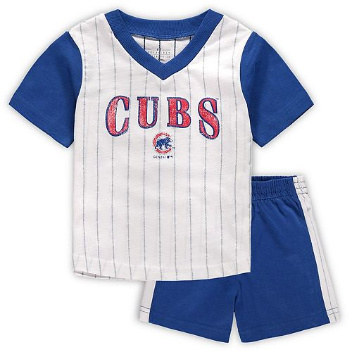 Infant White/Royal Chicago Cubs Little Hitter V-Neck T-Shirt & Shorts Set