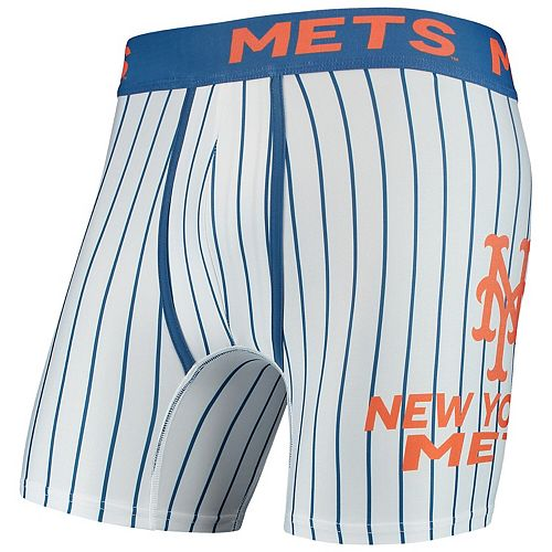Men's Concepts Sport White New York Mets Pinstripe Boxer Briefs
