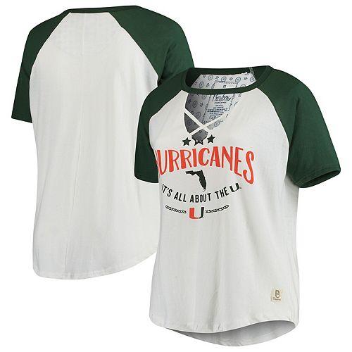 Women's Pressbox White/Green Miami Hurricanes Plus Size Abbie Criss-Cross Raglan Choker T-Shirt