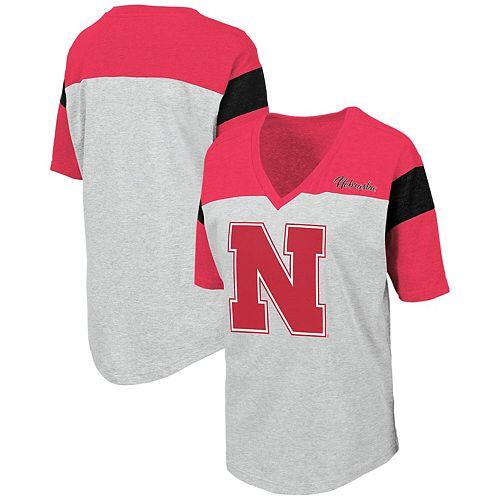 Women's Colosseum Heathered Gray Nebraska Cornhuskers Genoa Color Blocked V-Neck T-Shirt