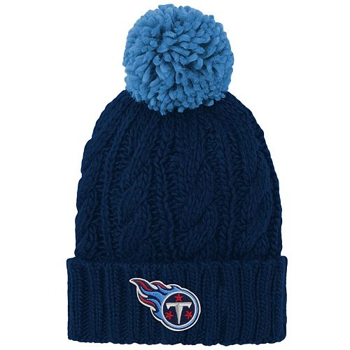 Girls Youth Navy Tennessee Titans Team Cable Cuffed Knit Hat with Pom
