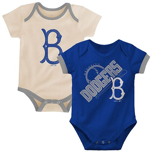 Newborn & Infant Royal/Tan Los Angeles Dodgers Cooperstown Collection Groovy Game Two-Pack Bodysuit Set
