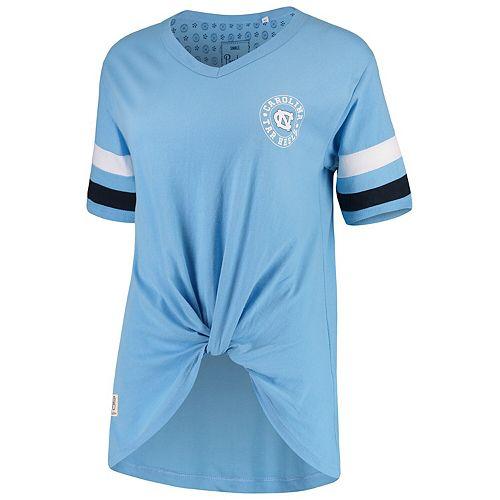 Women's Pressbox Carolina Blue North Carolina Tar Heels Knotted Hem V-Neck T-Shirt