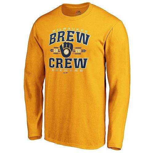 Men's Fanatics Branded Gold Milwaukee Brewers Fine Contribution Long Sleeve T-Shirt