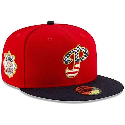 Men's New Era Red/Navy Philadelphia Phillies 2019 Stars & Stripes 4th of July On-Field 59FIFTY Fitted Hat