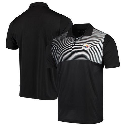 Men's Antigua Black/White Pittsburgh Steelers Tactic Polo