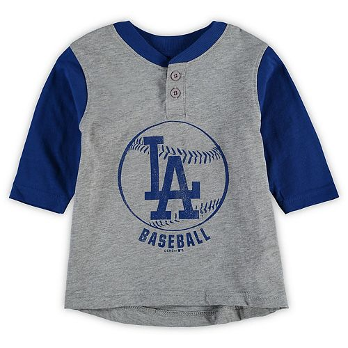 Toddler Gray/Royal Los Angeles Dodgers Legacy Henley 3/4-Sleeve T-Shirt