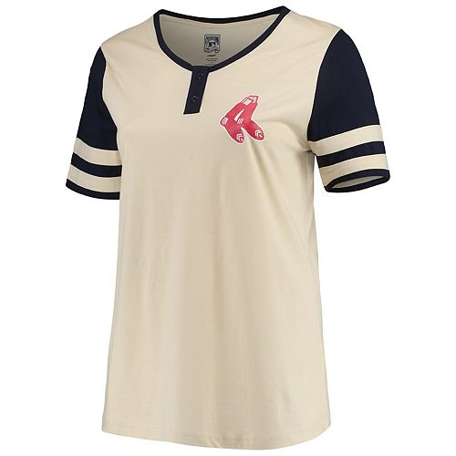 Women's Majestic Cream/Navy Boston Red Sox Plus Size Cooperstown Collection Henley T-Shirt