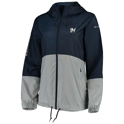 Women's Columbia Navy/Gray Milwaukee Brewers Flash Forward Windbreaker Jacket