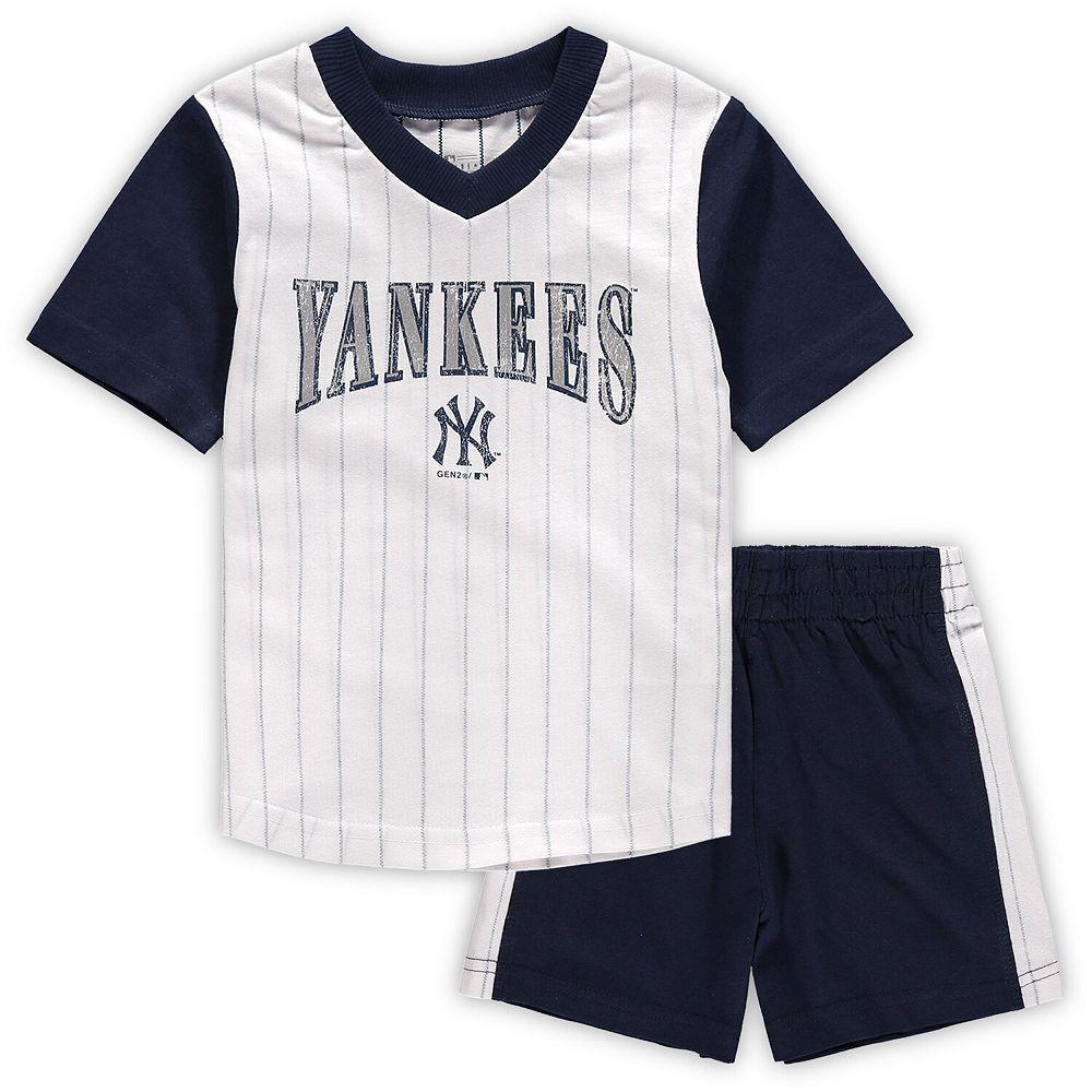 Toddler White/Navy New York Yankees Little Hitter V-Neck T-Shirt & Shorts Set