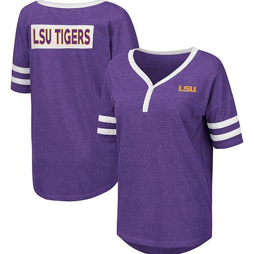 Women's Colosseum Heathered Purple LSU Tigers Florence 2-Hit Henley T-Shirt