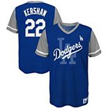 Youth Majestic Clayton Kershaw Royal/Gray Los Angeles Dodgers Play Hard Player V-Neck Jersey T-Shirt