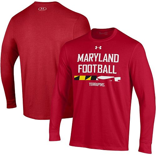 Men's Under Armour Red Maryland Terrapins Sideline Performance Long Sleeve T-Shirt