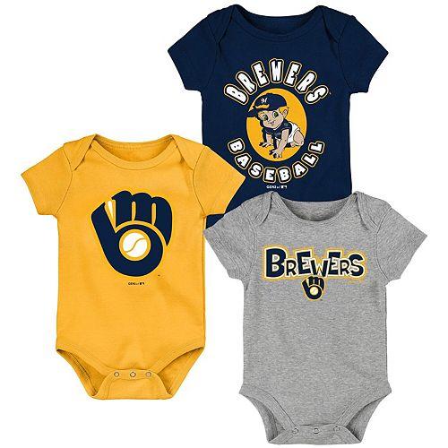 Newborn & Infant Navy/Gold/Heathered Gray Milwaukee Brewers Everyday Fan Three-Pack Bodysuit Set
