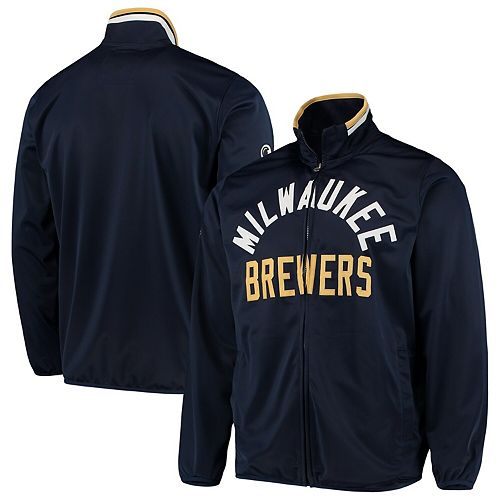 Men's G-III Sports by Carl Banks Navy Milwaukee Brewers Power Pitcher Full-Zip Track Jacket