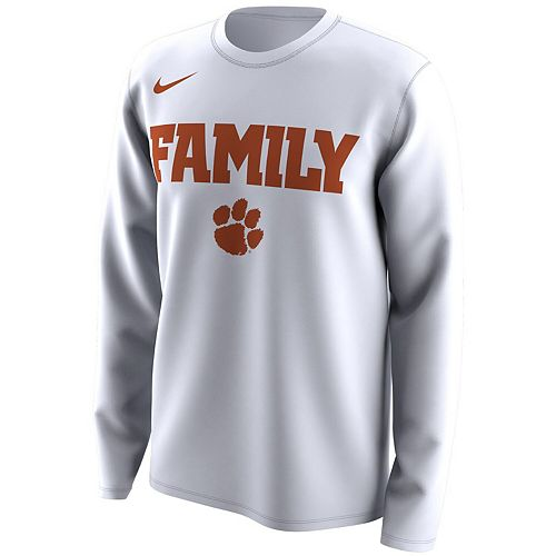 Men's Nike White Clemson Tigers March Madness Family on Court Legend Basketball Performance Long Sleeve T-Shirt
