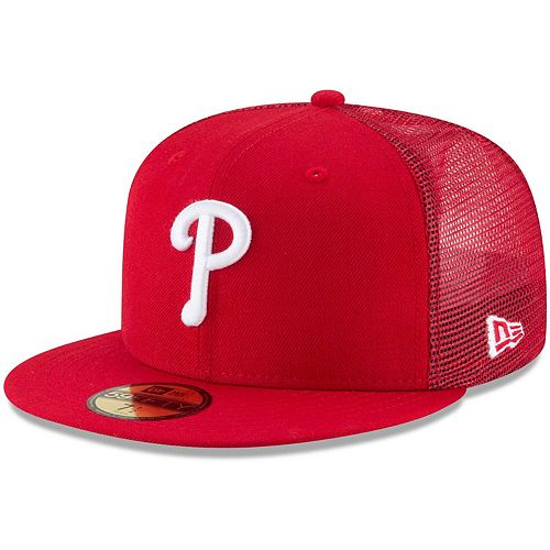 Men's New Era Red Philadelphia Phillies On-Field Replica Mesh Back 59FIFTY Fitted Hat