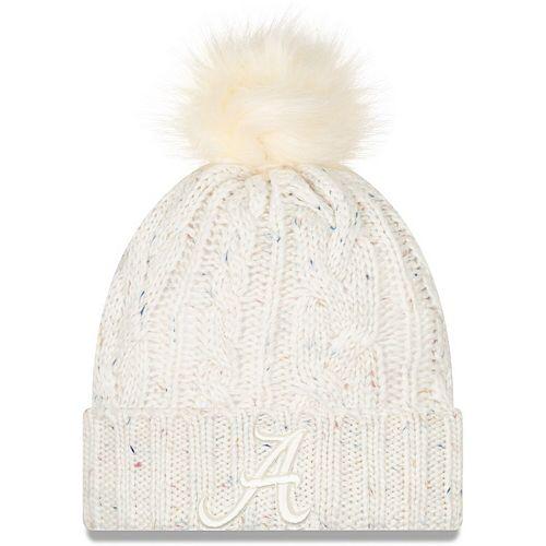 Women's New Era White Alabama Crimson Tide Fuzzy Cuffed Knit Hat with Pom