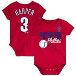 Newborn & Infant Majestic Bryce Harper Red Philadelphia Phillies Baby Slugger Name & Number Bodysuit
