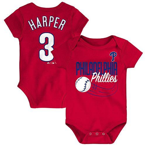 Newborn & Infant Majestic Bryce Harper Red Philadelphia Phillies Baby Slugger Name & Number Bodysuit
