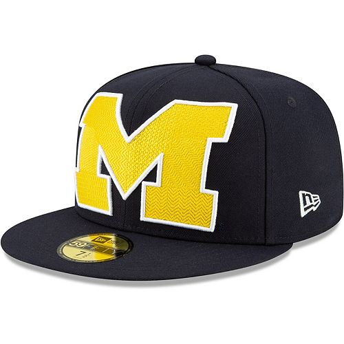 Men's New Era Navy Michigan Wolverines Threads 59FIFTY Fitted Hat