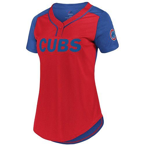 Women's Fanatics Branded Red/Royal Chicago Cubs Plus Size League Diva Mesh T-Shirt