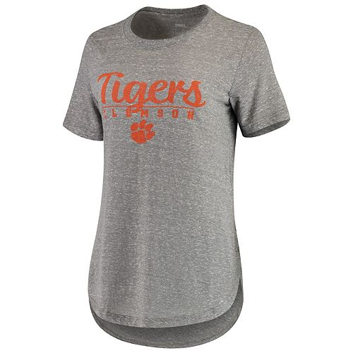 Women's Pressbox Heathered Gray Clemson Tigers Cherie Rounded-Bottom Tri-Blend T-Shirt