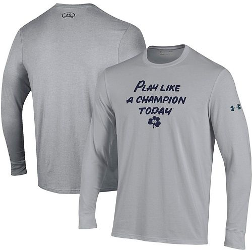 Men's Under Armour Heathered Gray Notre Dame Fighting Irish Play Like A Champion Today Cotton Long Sleeve Performance T-Shirt
