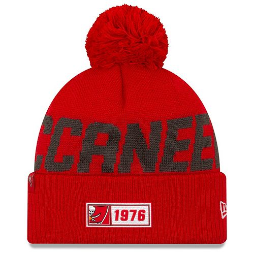 Men's New Era Red Tampa Bay Buccaneers 2019 NFL Sideline Road Official Sport Knit Hat