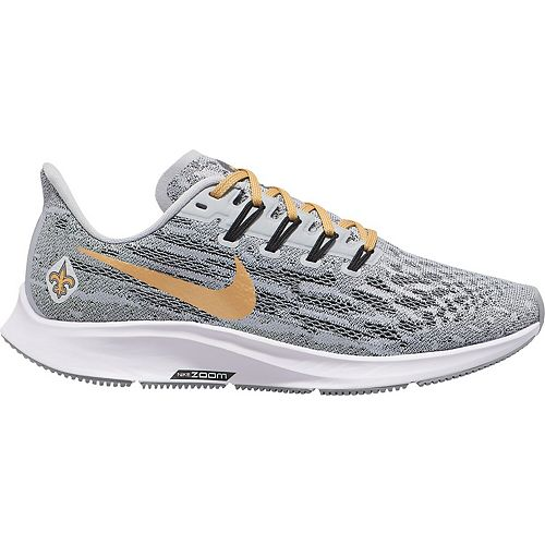 Women's Nike Gray/Gold New Orleans Saints Air Zoom Pegasus 36 Running Shoes